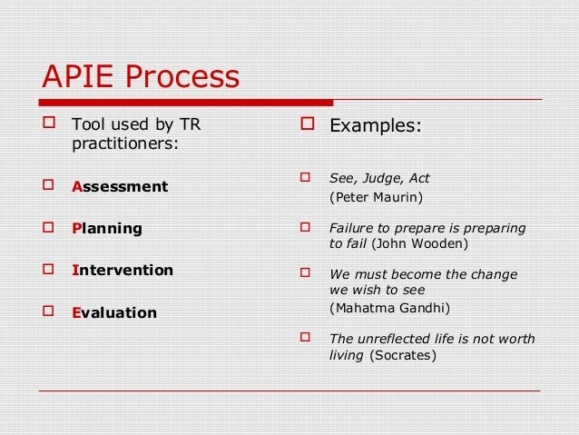 APIE Process  Tool used by TR practitioners:  Assessment  Planning  Intervention  Evaluation  Examples:  See, Judge...
