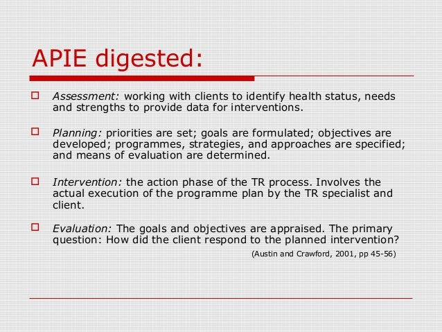 APIE digested:  Assessment: working with clients to identify health status, needs and strengths to provide data for inter...