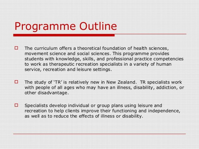 Programme Outline  The curriculum offers a theoretical foundation of health sciences, movement science and social science...