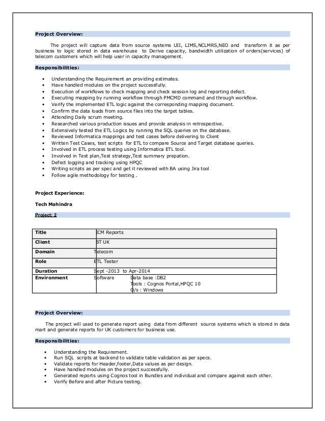 resume etl  testing
