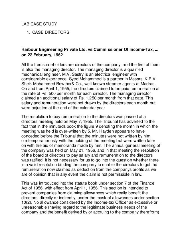 LAB CASE STUDY 1. CASE DIRECTORS Harbour Engineering Private Ltd. vs Commissioner Of Income-Tax, ... on 22 February, 1962 ...