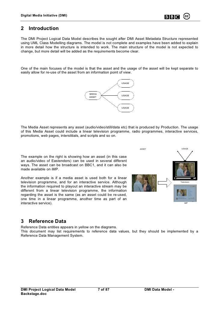 Digital Media Initiative (DMI)   2 Introduction The DMI Project Logical Data Model describes the sought after DMI Asset Me...