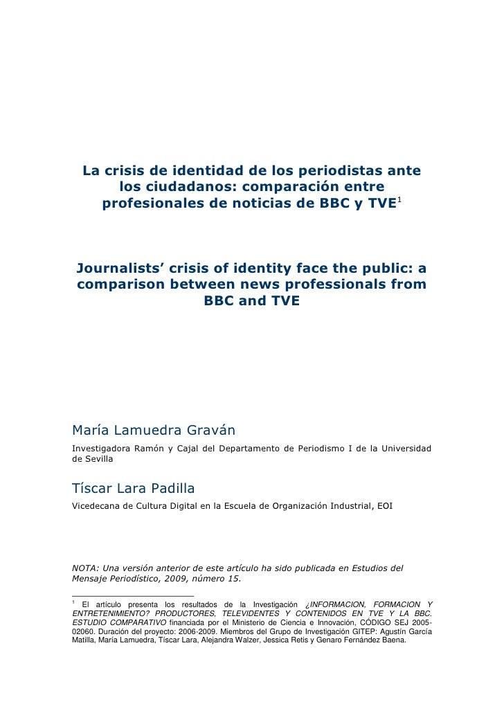 La crisis de identidad de los periodistas ante          los ciudadanos: comparación entre       profesionales de noticias ...