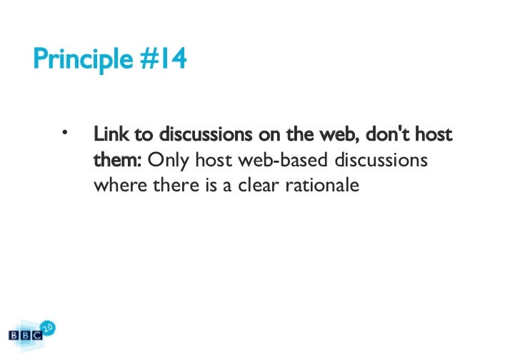BBC2.0: The BBC's 15 Web Principles Slide 43