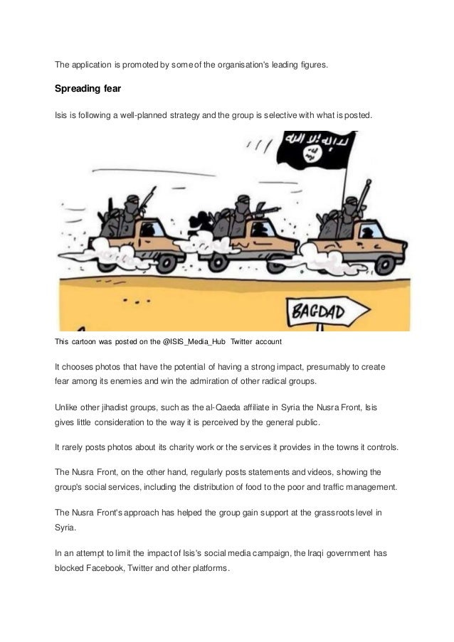 The application is promoted by some of the organisation's leading figures. Spreading fear Isis is following a well-planned...