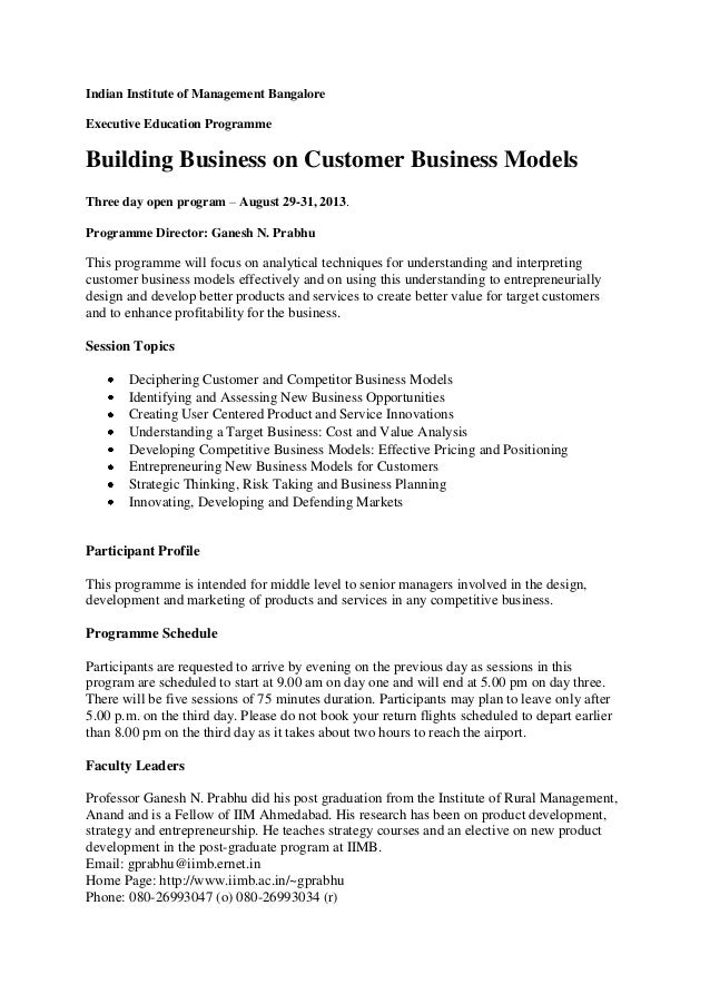 Indian Institute of Management BangaloreExecutive Education ProgrammeBuilding Business on Customer Business ModelsThree da...