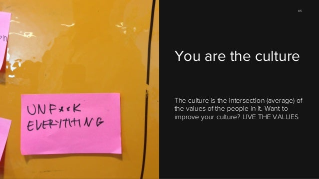 85  You are the culture The culture is the intersection (average) of the values of the people in it. Want to improve your ...