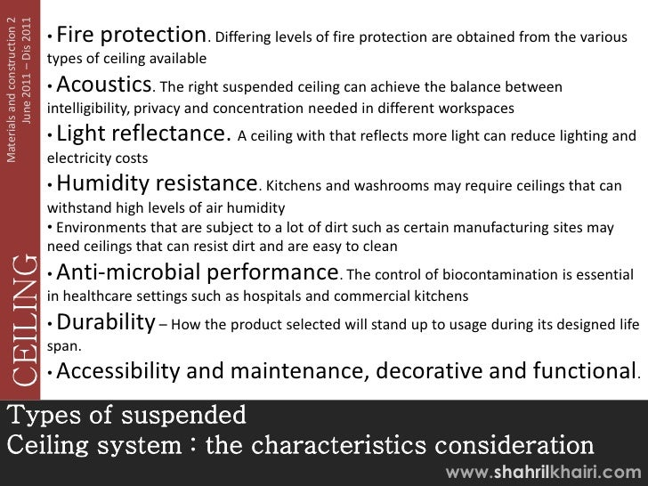 June 2011 – Dis 2011Materials and construction 2                               • Fire protection. Differing levels of fire...