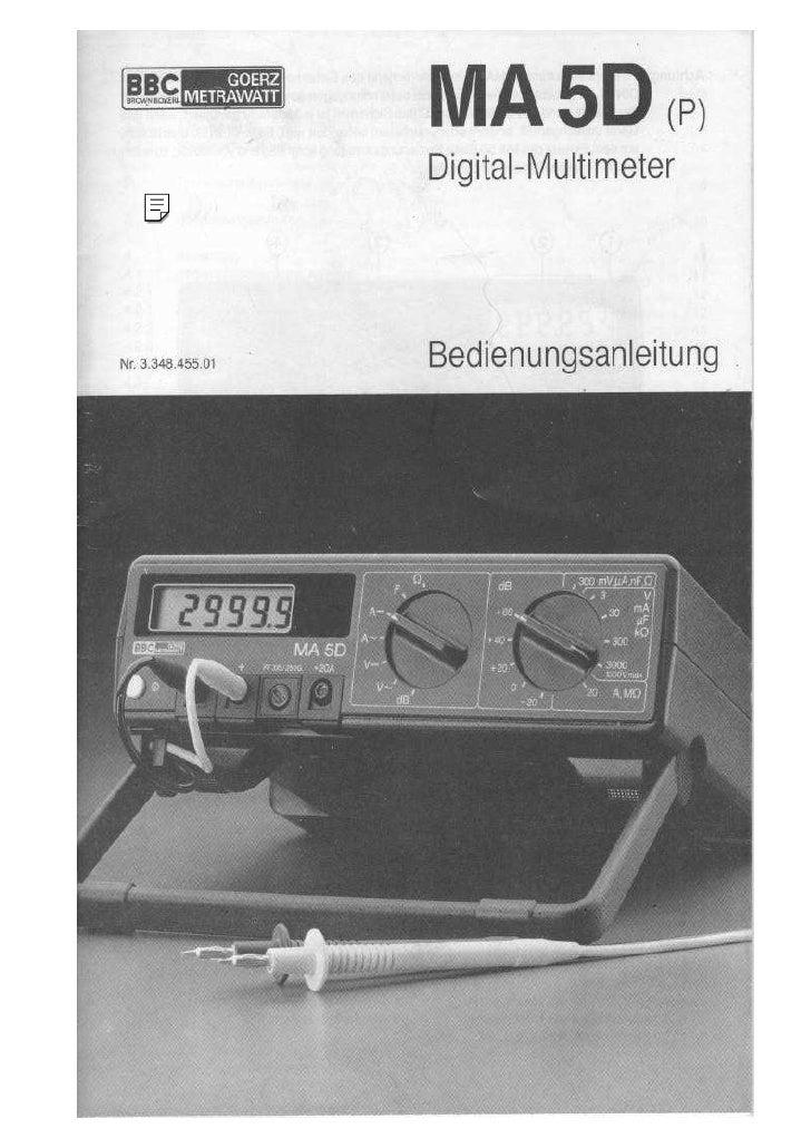 MA5D(p)                  Dig ital-M ulti meter     Nr.3.348455.01   Bedienungsanleitung