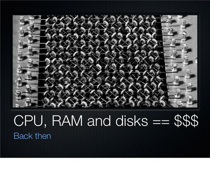 CPU, RAM and disks == $$$ Back then