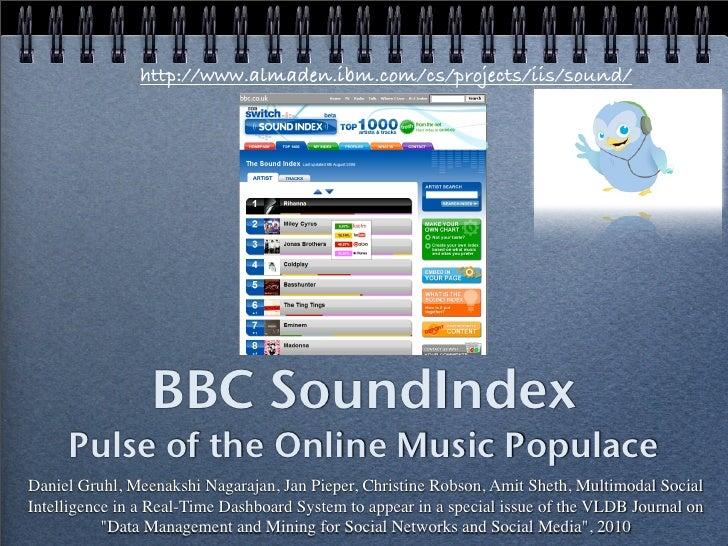 http://www.almaden.ibm.com/cs/projects/iis/sound/                      BBC SoundIndex      Pulse of the Online Music Popul...