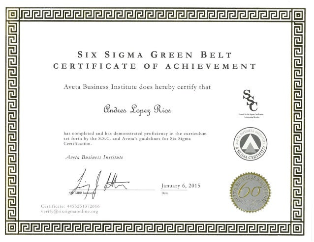 Andres Lopez Rios Six Sigma Green Belt Certification