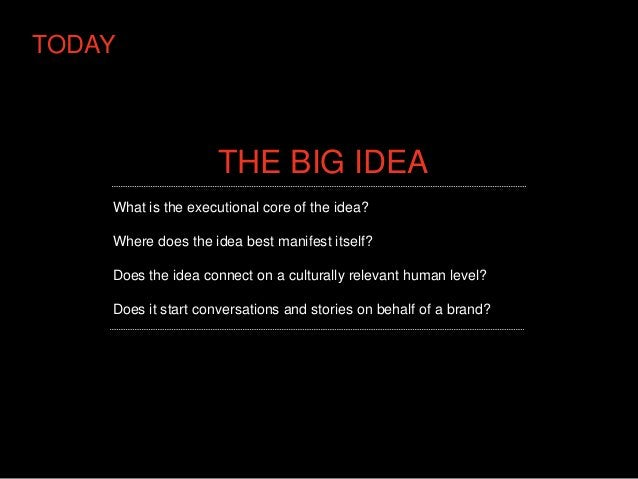 TODAY                    THE BIG IDEA    What is the executional core of the idea?    Where does the idea best manifest it...