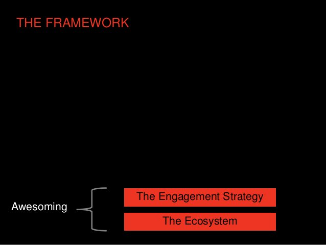 THE FRAMEWORK                The Engagement StrategyAwesoming                    The Ecosystem