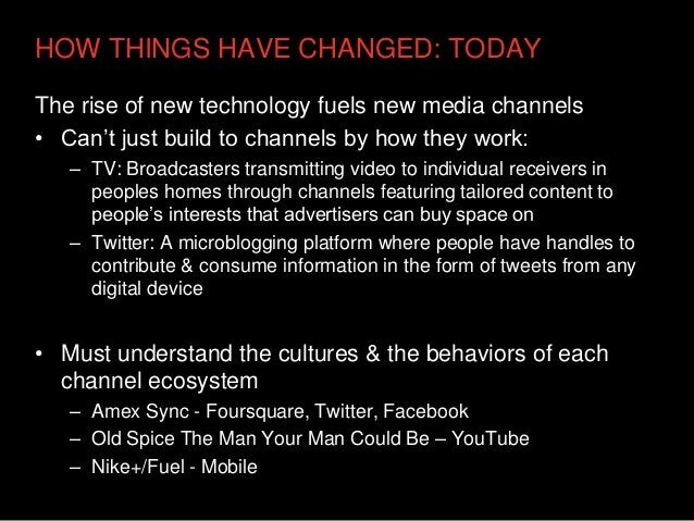 HOW THINGS HAVE CHANGED: TODAYThe rise of new technology fuels new media channels• Can't just build to channels by how the...