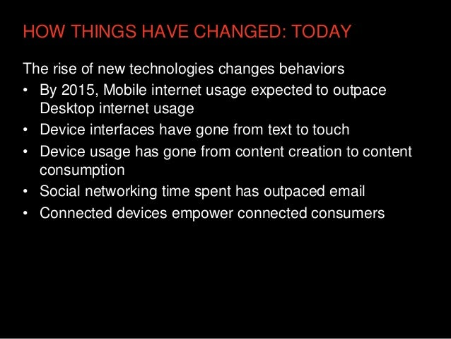 HOW THINGS HAVE CHANGED: TODAYThe rise of new technologies changes behaviors• By 2015, Mobile internet usage expected to o...
