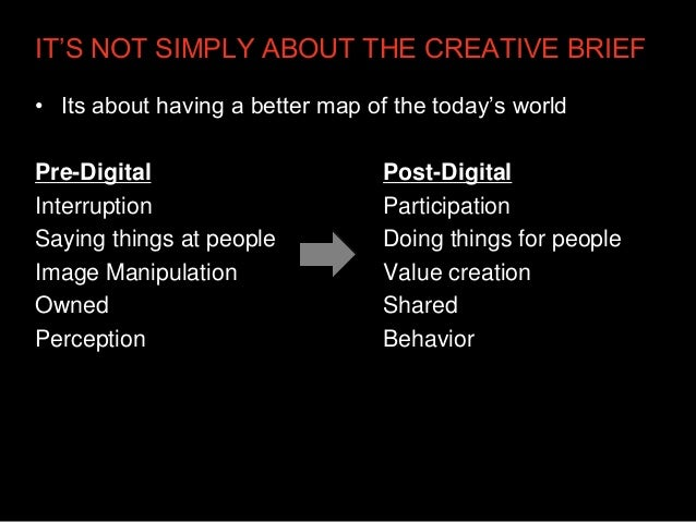 IT'S NOT SIMPLY ABOUT THE CREATIVE BRIEF• Its about having a better map of the today's worldPre-Digital                   ...