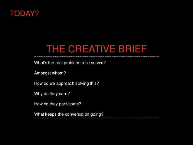 TODAY?          THE CREATIVE BRIEF    What's the real problem to be solved?    Amongst whom?    How do we approach solving...