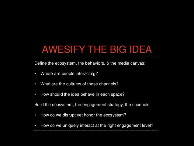 AWESIFY THE BIG IDEADefine the ecosystem, the behaviors, & the media canvas:•   Where are people interacting?•   What are ...