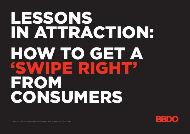 LESSONS IN ATTRACTION: HOW TO GET A 'SWIPE RIGHT' FROM CONSUMERS CRAFTED BY THE PLANNING DEPARTMENT @ BBDO SINGAPORE