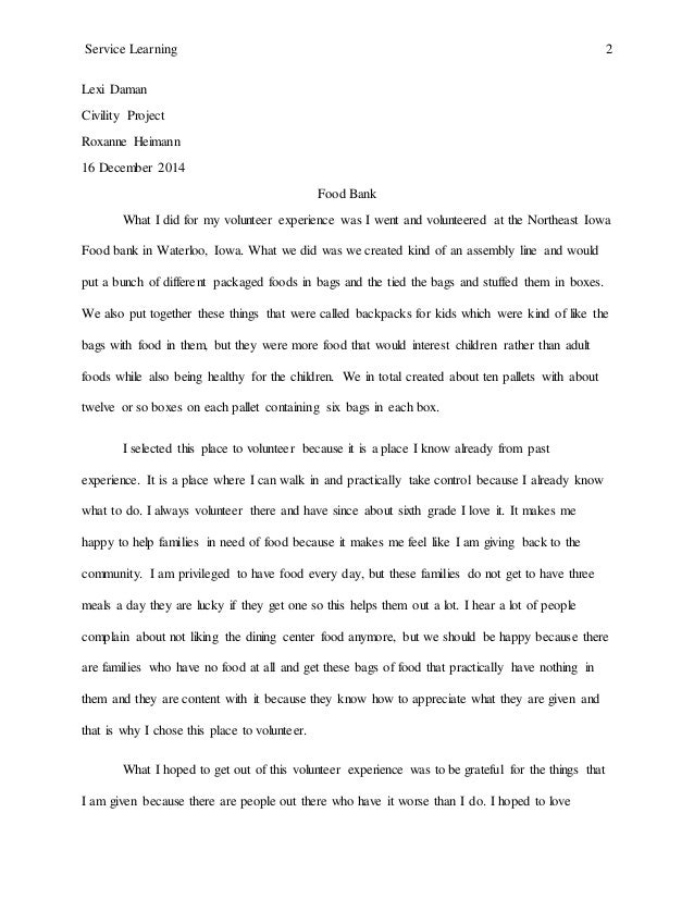Research paper on service learning