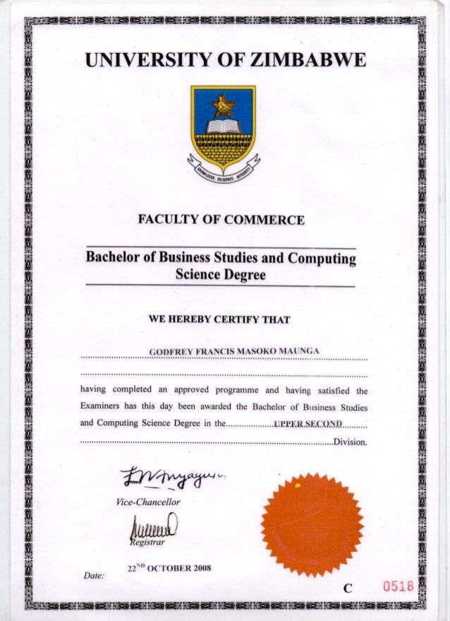 Degree Certificate (BBSCT)