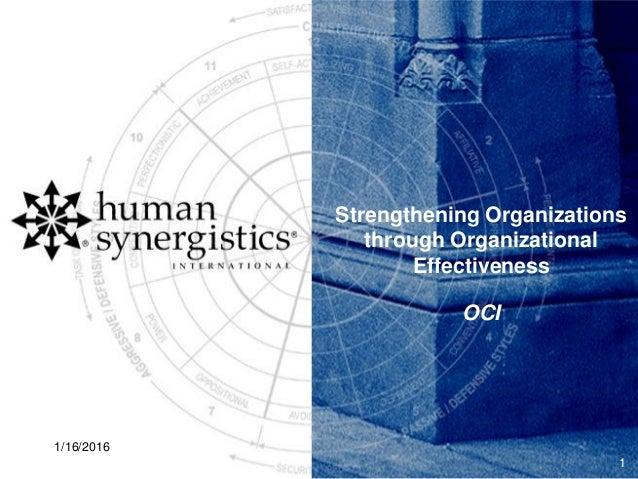Strengthening Organizations through Organizational Effectiveness OCI 1/16/2016 1