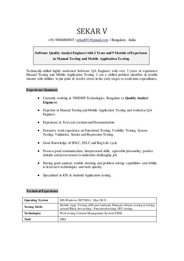 Sekar Quality Analyst Resumec