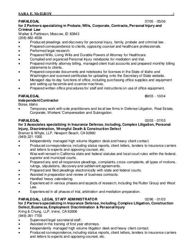 personal injury attorney resume