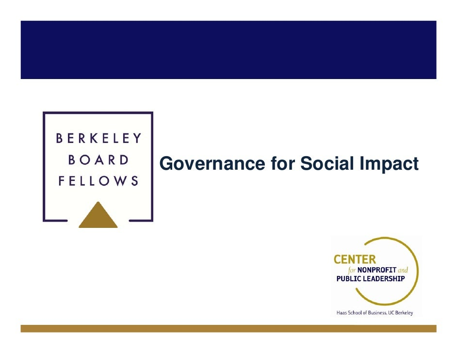 Governance for Social Impact