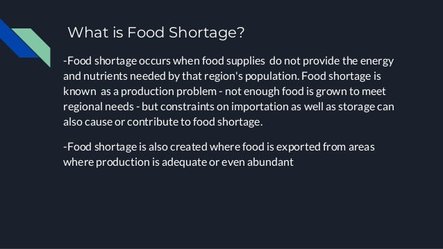 paragraph about the problem of food shortage