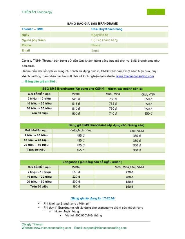 THIÊN ÂN Technology 1 Côngty Thienan Website:www.thienanconsulting.com – Email: support@thienanconsulting.com BẢNG BÁO GIÁ...