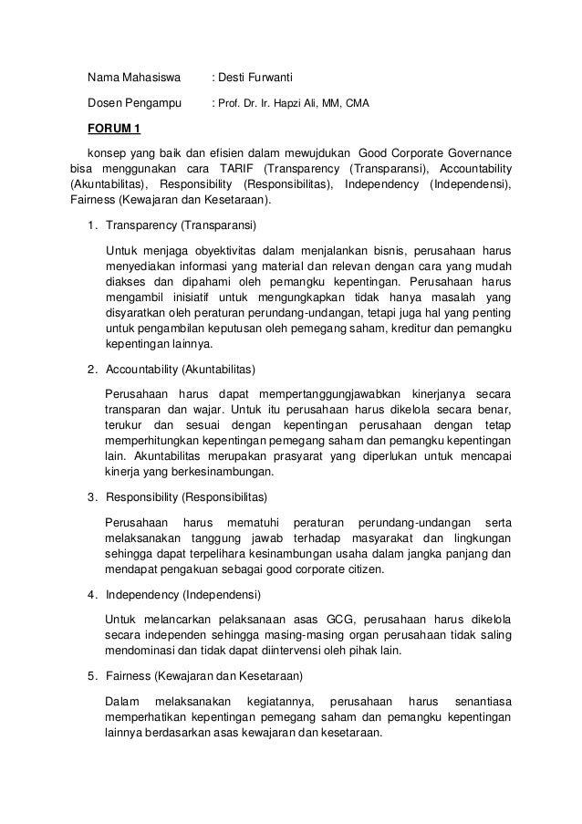 Nama Mahasiswa : Desti Furwanti Dosen Pengampu : Prof. Dr. Ir. Hapzi Ali, MM, CMA FORUM 1 konsep yang baik dan efisien dal...