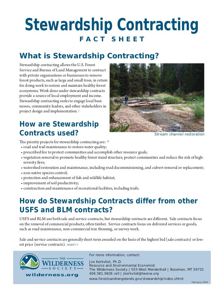 Stewardship Contracting                                      FACT                  SHEETWhat is Stewardship Contracting?St...