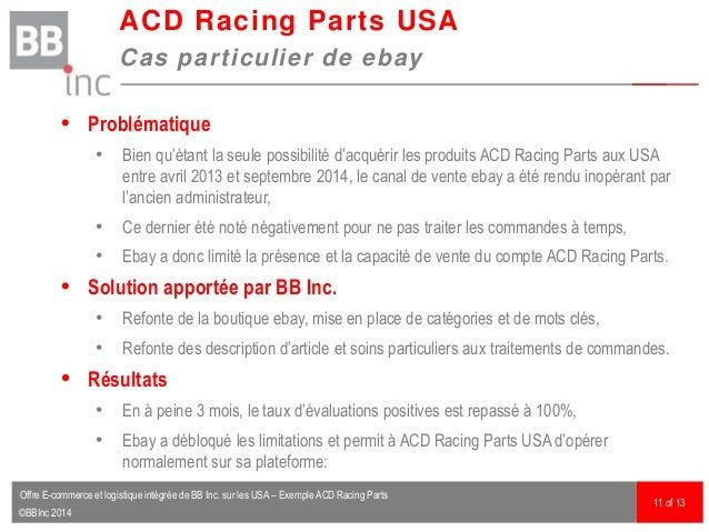 ©BBInc 2014  Problématique • Bien qu'étant la seule possibilité d'acquérir les produits ACD Racing Parts aux USA entre av...