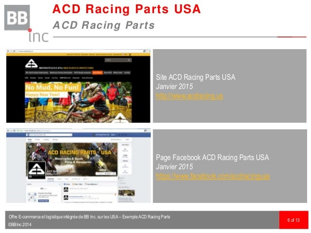 ©BBInc 2014 ACD Racing Parts USA ACD Racing Parts 6 of 13 Site ACD Racing Parts USA Janvier 2015 http://www.acdracing.us P...