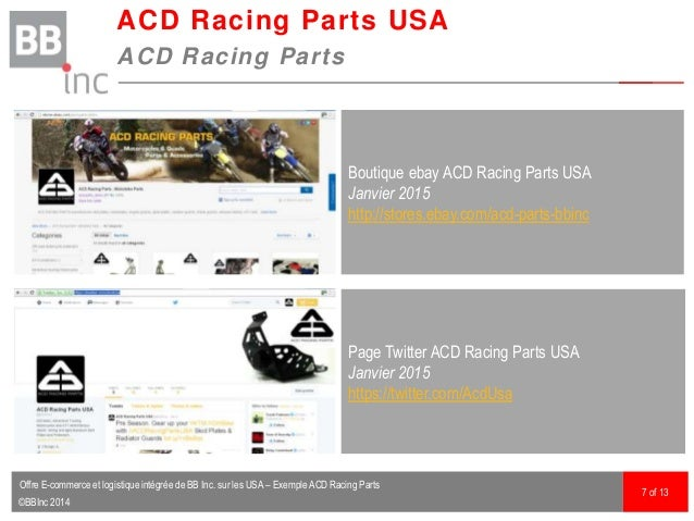 ©BBInc 2014 ACD Racing Parts USA ACD Racing Parts 7 of 13 Boutique ebay ACD Racing Parts USA Janvier 2015 http://stores.eb...