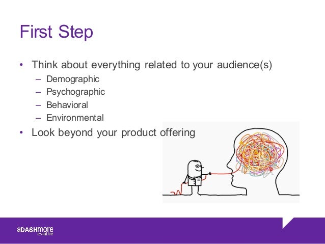 First Step • Think about everything related to your audience(s) – Demographic – Psychographic – Behavioral – Enviro...