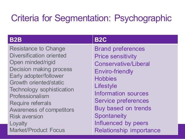 Criteria for Segmentation: Psychographic B2B B2C Resistance to Change Diversification oriented Open minded/rigid De...