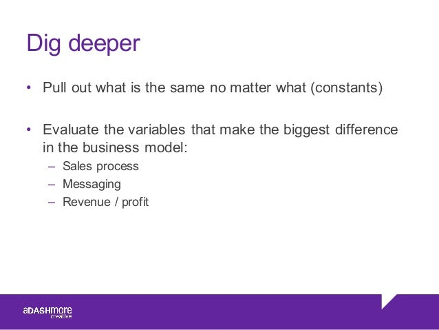Dig deeper • Pull out what is the same no matter what (constants) • Evaluate the variables that make the b...