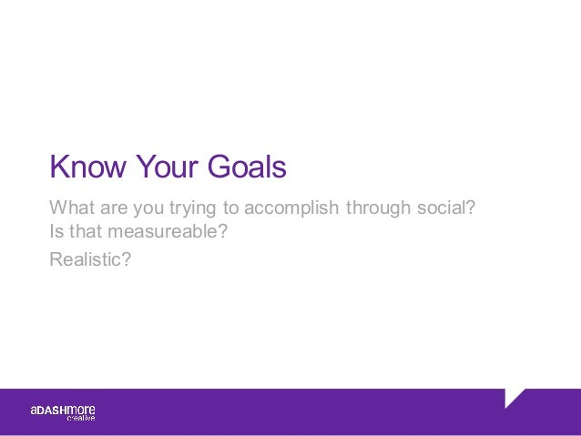 Know Your Goals What are you trying to accomplish through social?  Is that measureable? Realistic?