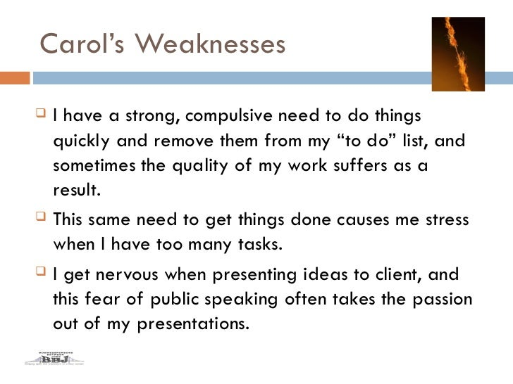 list of personal strengths and weaknesses