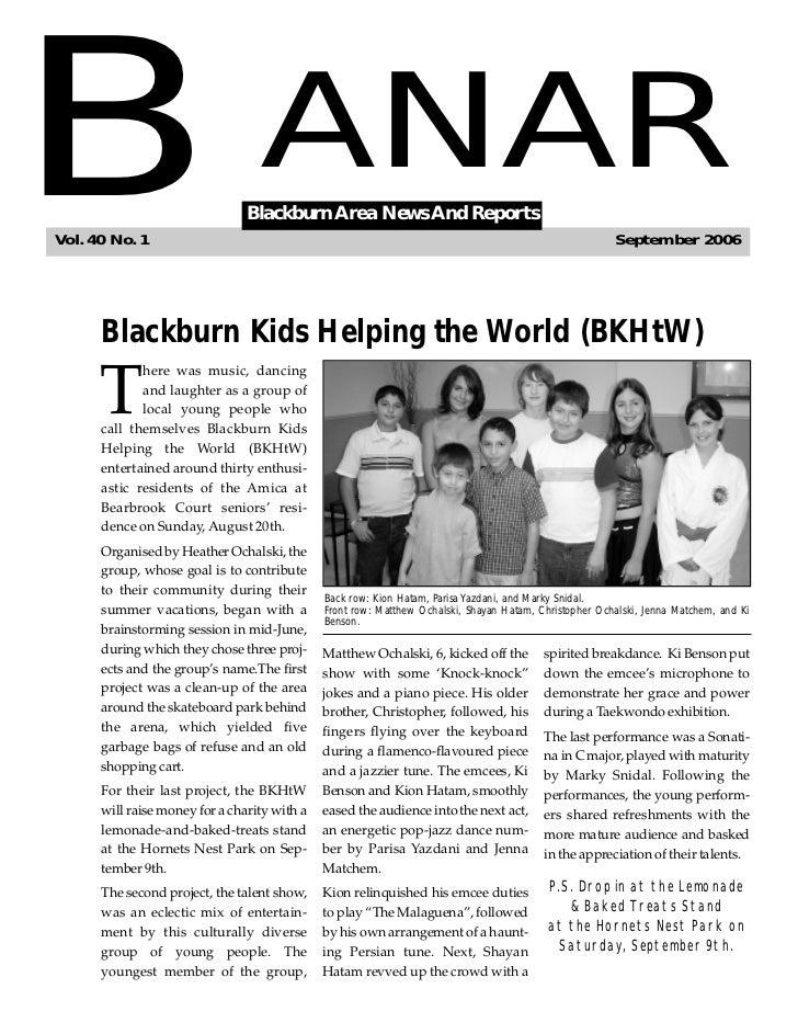 BVol. 40 No. 1                                  ANAR                                Blackburn Area News And Reports       ...