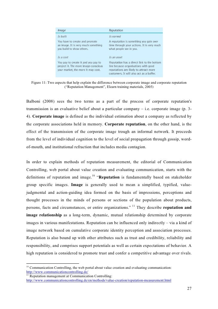 """reputation thesis Many people have had to change their original thesis statement to work with their   to read """"plastic surgery has developed a negative reputation that negates an."""