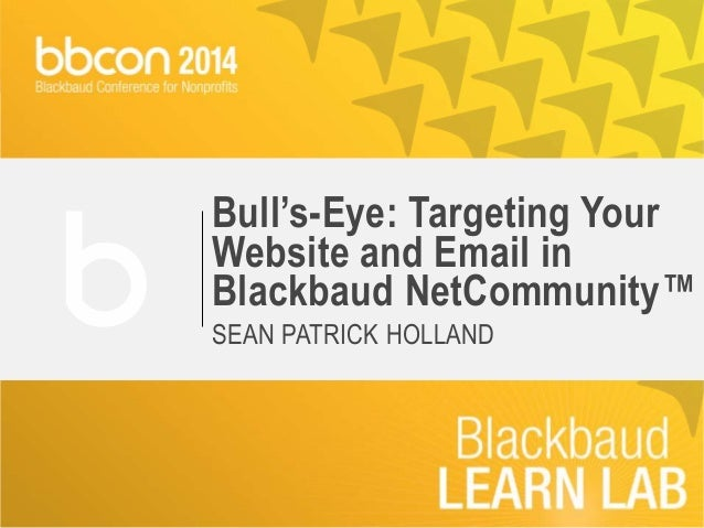 Bull's-Eye: Targeting Your  Website and Email in  Blackbaud NetCommunity™  SEAN PATRICK HOLLAND