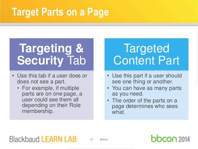 Target Parts on a Page  13 #bbcon  Targeting &  Security Tab  • Use this tab if a user does or  does not see a part.  • Fo...