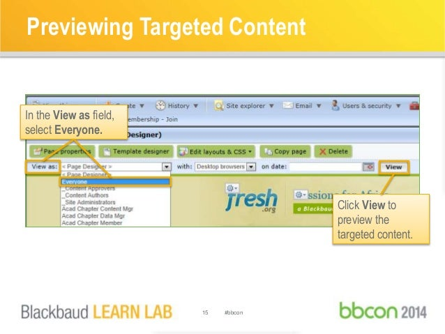 Previewing Targeted Content  15 #bbcon  In the View as field,  select Everyone.  Click View to  preview the  targeted cont...