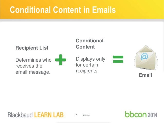 Conditional Content in Emails  17 #bbcon  Recipient List  Determines who  receives the  email message.  Conditional  Conte...