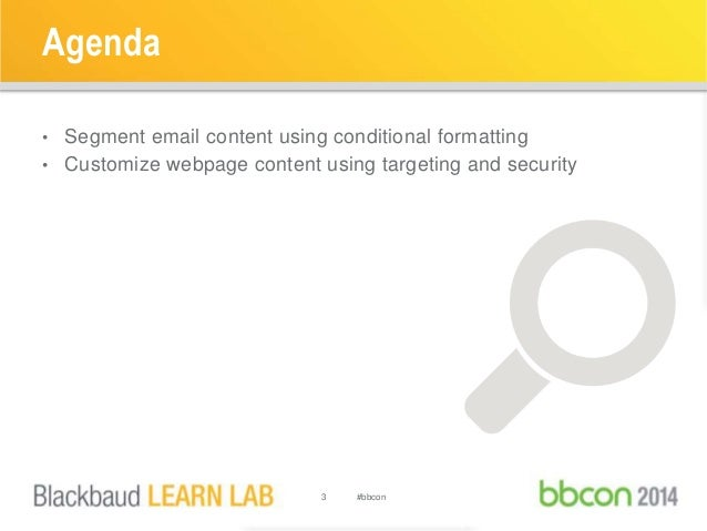Agenda  • Segment email content using conditional formatting  • Customize webpage content using targeting and security  3 ...