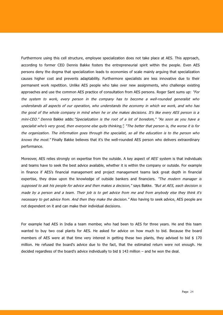 Aes case analysis